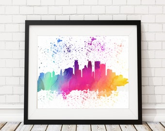 Minneapolis Skyline Watercolor Print Cityscape Print Minneapolis Watercolor Minneapolis Skyline Painting Watercolor Painting Silhouette Art