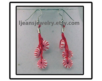 Christmas Polymer Clay Peppermint Candy Dangle Earrings
