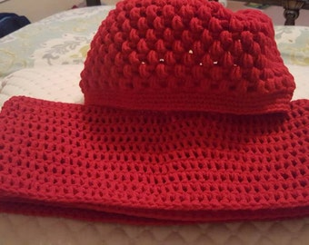 Crochet Beanie Hat with matching Infinity Scarf