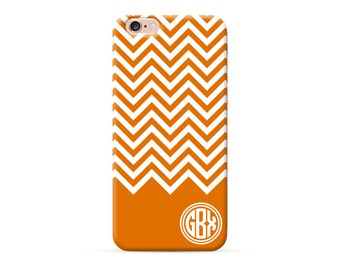 Personalized iPhone 7 case, personalised iPhone 8 case, monogram iPhone 7 plus case, iPhone 8 Plus case, iPhone X case cover, orange chevron