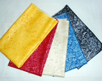 """Fairy Frost Fat Quarter Bundle 5pc. """"Patriotic"""" or Red White and Blue (Michael Miller Sunny/Scarlet/Champagne/Sapphire/Black) (#O33)"""