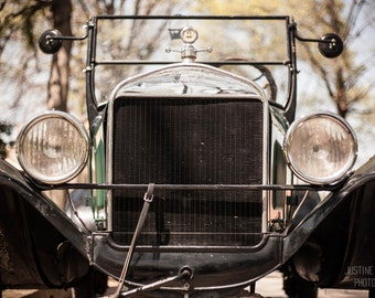Vintage Ford I: WALL ART Fine Art Photography Vintage Classic Automobile Car Elegant Silver Black Green Bokeh Soft Light