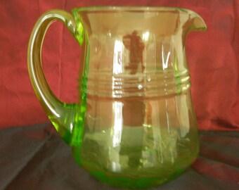Vintage Vaseline Glass Jug