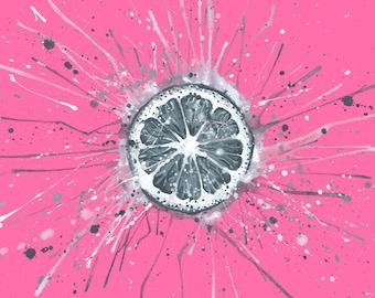 Exploding Lemon - art print, original art, wall art, home decor, kitchen decor, food art