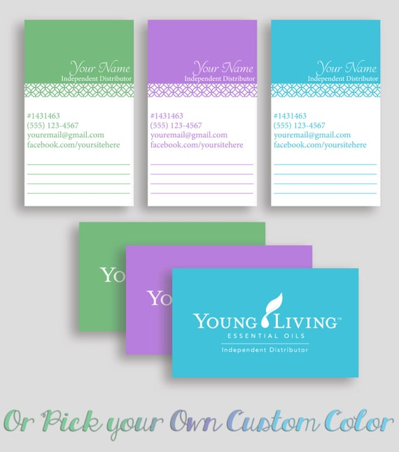 Colored young living business card printable notes space