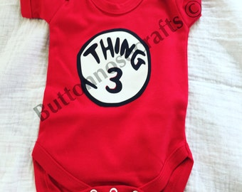 Dr Suess Style, Thing 1, Thing 2 or Thing 3 Announcement-shirt