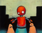 "Original Oil Painting on Canvas - ""Robot"" - Weird Surrealist Abstract Art"