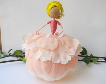 Vintage Flower Fairy Doll, Peony Fairy, Braided Up-do Hair Princess Fairy, Ballerina Ornament, Handmade Fairy