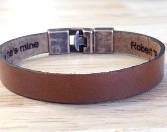 FREE SHIPPING-Engraved Leather Bracelet,Personalized Leather Bangles,Unisex Leather Bracelet,Mens Bracelet,Leather Bracelets,Custom Bracelet