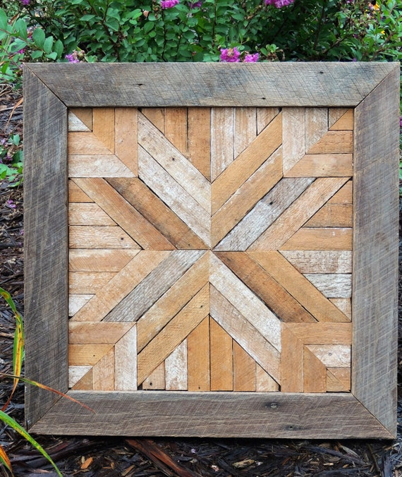 Salvaged Wood Barn Quilt Block Barn Wood Geometric Art