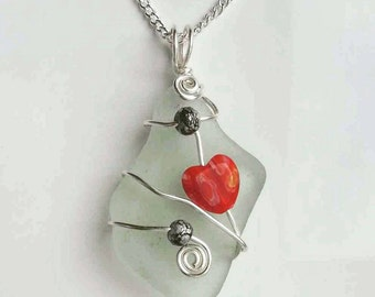 Seaglass Necklace Pendant wirewrapped   with red millfiore love heart.