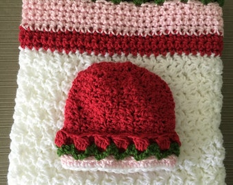 Baby crochet hat and matching blanket