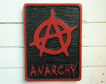 Anarchist hand carved plaque/ Man Cave/ Father's Day