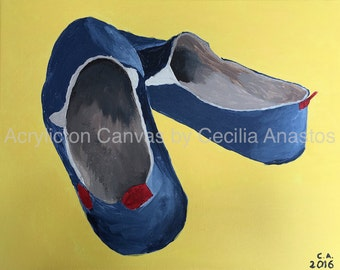 Acrylic Painting on Canvas - Alpargata shoes with yellow background