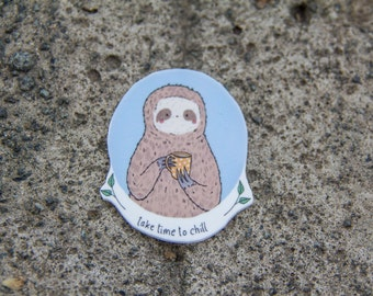 Take Time To Chill Sloth - Button