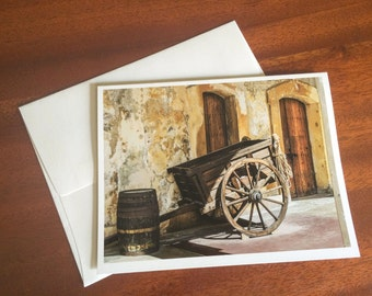 Blank Note Card, Cart in San Cristobal San Juan, Travel Photography, Original Artwork, Photo Print, Greeting Card
