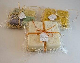Handmade Vegan 4 Soaps Gift Set with Plate/Made to be Given