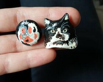 Cat collar pin.Cat brooch.Collar brooch.Cat pin.Animal brooches.Animal pin.Animal jewelry.Sweater pin. Cloths brooch.