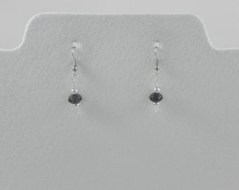 Black faceted beaded dangle/drop earrings