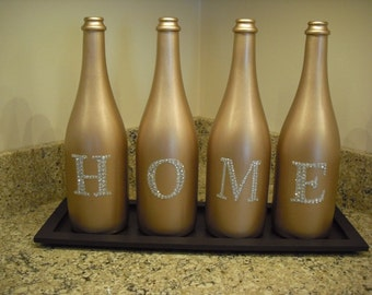 Gold Painted Home Wine Bottles