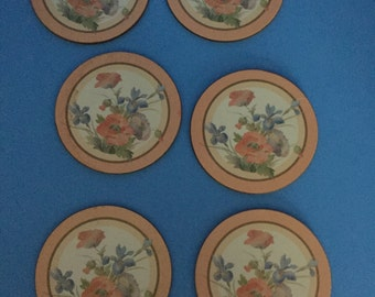 Pimpernel Coasters; Flower Pattern; Set of 6 Coasters with Cork Backing; Vintage; Made in England