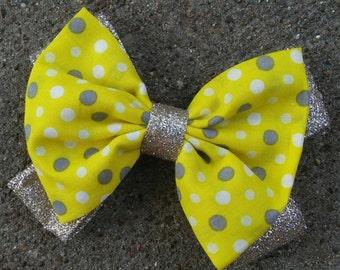 Polka Dots Fabric Hair Bow