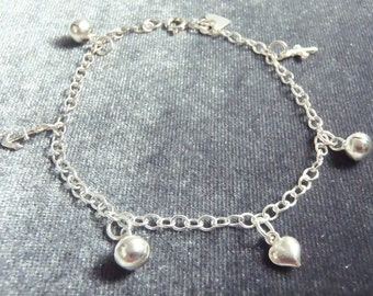 Sterling Silver Multi Charm Bracelet RB4