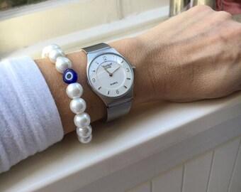 Pearl Bracelet, Greek Eyes