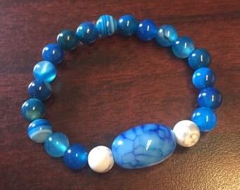 Blue Agate stretch bracelet