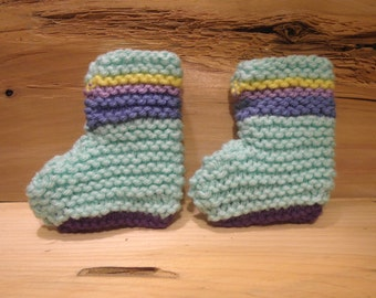 Baby Booties, mint green and rainbow stripes