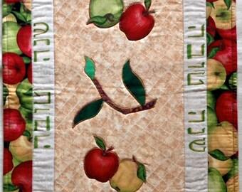 Rosh Hashanah Table Runner, Holiday  Quilt, Hebrew Writing, Jewish Art