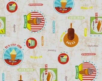 Fabric coated Ice Cream - for 1 quantity of 50 cm x 160 cm size - 100% cotton coating
