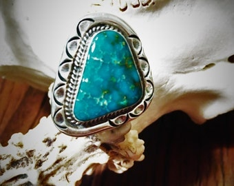 Triangular Native American Turquoise Ring Size 10.5