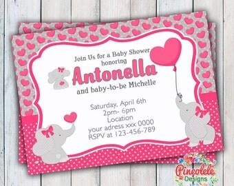ELEPHANT BABY SHOWER Invitation Party Birthday Baby girl