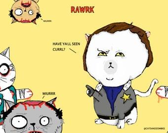 Rawrk - The walking dead cats poster - The Purring Dead - Handmade digital poster