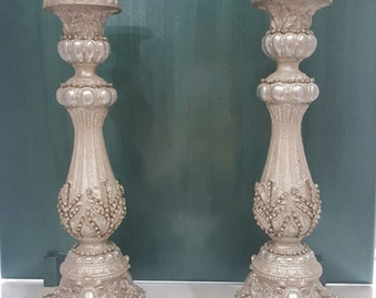 Decorative candlesticks with silver foil and cubic zirkonia stones - candle holder