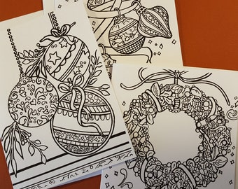Christmas Greeting Cards to Color/ Show YOUR Creative Side!