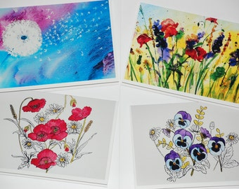 Flower cards (set of 4) with envelopes