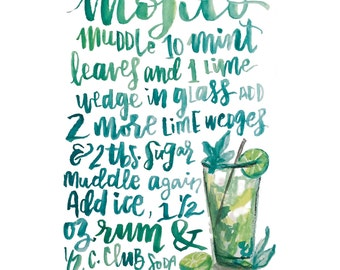 Handlettered Mojito Recipe