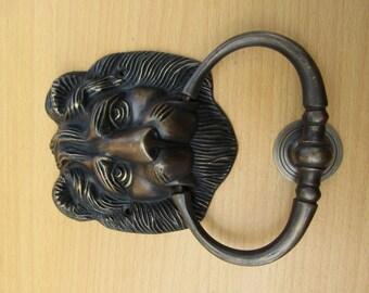 Vintage Solid Brass Lion Head Front Door Knocker with Pull Ring KNOCKER  Door Protector KET04