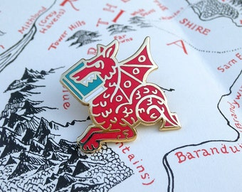 Literary Gift -  Red Book Wyrm enamel pin - Gifts for Book Lovers - Gifts for readers - Bookish Gift