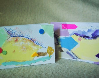 Gentle touch - set of 2 handmade paper postcards, painted cardboard, collage, happy colors, banana yellow, abstract forms