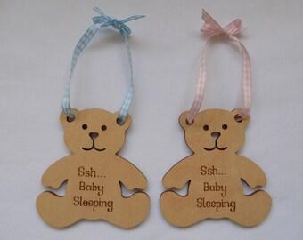 Engraved Wooden Plaque Newborn Baby Girl/Boy Teddy Bear