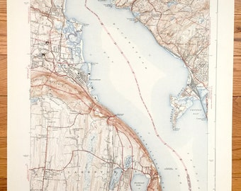 Old New York Map Etsy - Hudson river on a us map