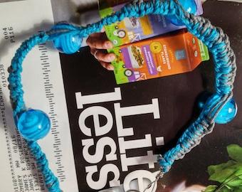 Blue and Gray beaded hemp bracelet