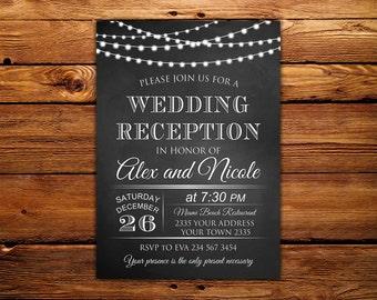 Wedding Reception Invitation. Chalkboard Wedding Invitation. String Lights Wedding Invitation. Chalkboard Wedding Invitation. Rustic Wedding