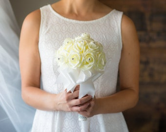 White Wedding Bouquet - Ready To Ship - Ivory Rose Bouquet - Bridal Bouquet - White Bouquet - Wedding Flowers - Bridesmaid Bouquet - Wedding