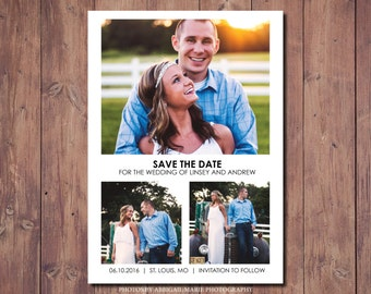 Save the Date Postcard, Multiple Photo Save the Date, Printable Save the Date, Save the Date, Photo Credit: AMP