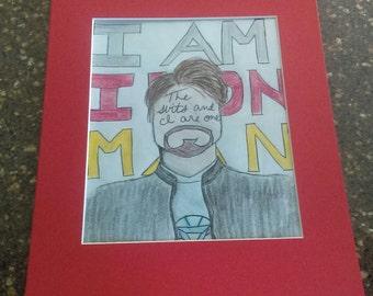 Original Drawing - I Am Iron Man - Tony Stark