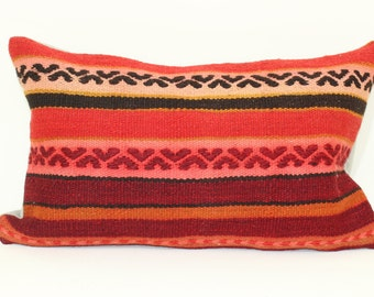 KILIM PILLOW- hand woven vintage, Turkish Kilim Pillow- 100% Natural Wool- 12 x 20